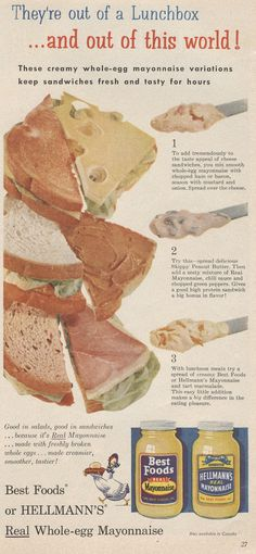 Hellmann's recipes from old magazine ad.