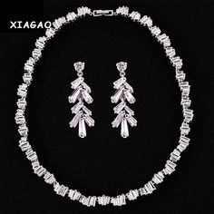 XIAGAO Sparkling Clear Cubic Zirconia Heavy Collar Choker Necklace Earrings Set For Women Bridal Luxury Wedding Jewelry Set #Affiliate