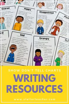 Show Don't Tell Resource Ring Writing Resources, Teaching Writing, In Writing, Writing Tips, Teacher Resources, Show Dont Tell, Happy Eyes, 3rd Grade Writing, Happy Words