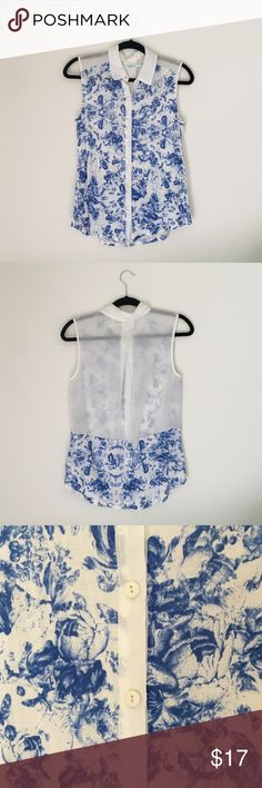 Urban Outfitters Floral Button Up Sheer and lightweight sleeveless button up by Urban Outfitters. Never worn. Very soft - 100% polyester. Urban Outfitters Tops Tank Tops