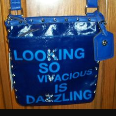 """Kathy Van Zeeland Purse ~ New with Tags SASSY Says on the front """"Looking so Vivacious is Dazzling"""" - NEW WITH TAGS ~ SASSY & Hot for spring! Kathy Van Zeeland Bags Crossbody Bags"""