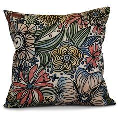 Echo Zentangle Floral Outdoor Throw Pillow