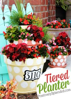 Tiered Terra Cotta Planter - Turn plain terra cotta pots into something really special with a bit of paint and creativity! Such a great idea!