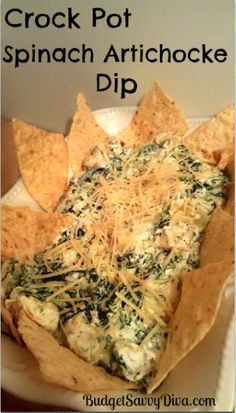 Crock Pot Spinach Artichoke Dip: takes 5 minutes to throw all the ingredients in the crock pot!