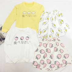 "Style:sweet.japanese  Design:eggs.strawberry  Material:cotton  Color:strawberry(sweatshirt+skirt).eggs(sweatshirt+skirt).strawberry(tees+skirt).eggs(tees+skirt)   Tees: Shoulder:38cm/14.96"".bust:84cm/33.07"".length:60cm/23.62"".sleeve length:16cm/6.29""  Sweatshirt: Shoulder:38cm/14.96"".bus..."