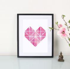Artprint / Origami / Herz / pink