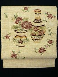 Mottled Light Brown Hassun Nagoya Obi, Embroidery Vase and Flower Pattern / 杢砥の粉色地 刺繍の壺と花お太鼓柄 八寸名古屋帯   【リサイクル着物・アンティーク着物・帯の専門店 あい山本屋】#Kimono #Japan