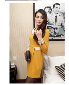 Gathered-waist Long sleeve Dress YRB0157 #yellow