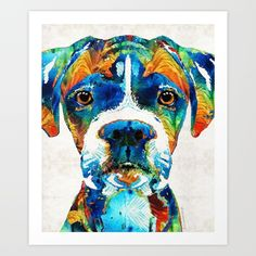 #boxer #dogs Collect your choice of gallery quality Giclée, or fine art prints custom trimmed by hand in a variety of sizes with a white border for framing.