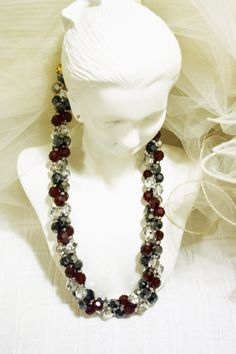 #vintage #VogueTeam Crystal Beaded Necklace Matching Earrings Art Deco Faceted Garnet Red Crystal Glass Bead Triple Strand Necklace