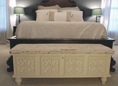 Paint antique white with black and white damask or toile fabric...   Google Image Result for http://uniquelyyoursormine.files.wordpress.com/2012/01/f-lane-cedar-chest2.jpg