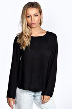 Lexie Split Back Long Sleeve Woven Blouse at boohoo.com