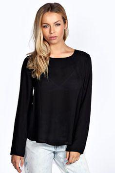 Lexie Split Back Long Sleeve Woven Blouse at boohoo.com