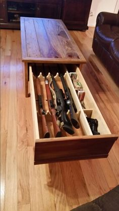 Concealed gun coffee table