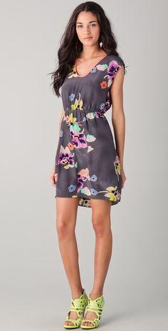 "Shopbop...Rebecca Taylor...Wild Rose Print Dress...Colour=Punch Combo...Silk...35"" long...Cute back detail"
