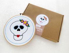 Sugar Skull Embroidery Kit, Candy Skull Needlecraft, Modern Needlework, Rockabilly Hoop Art, Cinco De Mayo Decoration, Learn To Sew Gift Set