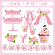 Baby Girl Clip Art Instant Download - cake, ballet shoes, cupcake, rosette, shabby chic, floral, girly, crochet - Personal Commercial
