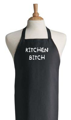 Kitchen Bitch Funny Black Apron, Humorous Apron Dark, Novelty Cooking Aprons