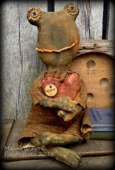 Primitive Folk Art Lady Rowena Female Frog Doll-Farmhouse, Frog, Hafair Team, Faap by MeadowForkPrims on Etsy