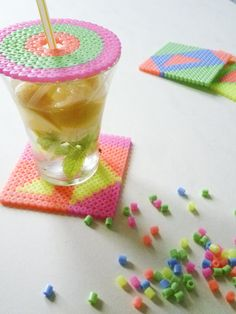 Coaster and drink cover, pearler beads