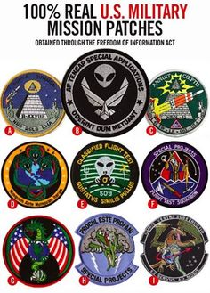 "This might be a good post to show people who dismiss ""conspiracy theorists"". Take a good look at some of these patches worn by our military and space organizations to identify their mission's objectives."