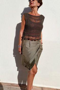 Kaki top spot top in tessuto cotone jersey breve estate in