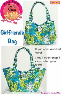 The Girlfriends Bag.  Snap it open or snap it closed for two great looks.  Buy the pattern at:  http://shop.amongbrendasquilts.com/products/girlfriends_bag