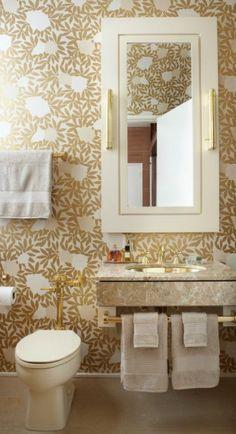 Gold + White Bathroom Wallpaper