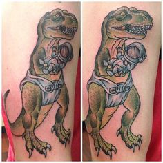 A T-Rex wearing a diaper, holding a baby wearing a space helmet?!  Ink by Kapten Hanna.