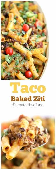 Taco baked Ziti - minus some spice/vegetables might work. Beef Recipes, Mexican Food Recipes, Dinner Recipes, Cooking Recipes, Pasta Recipes, Dinner Ideas, Potluck Recipes, Mexican Dishes, Family Recipes