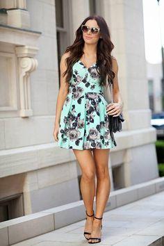 Mint floral a line skirt back bowed party dress