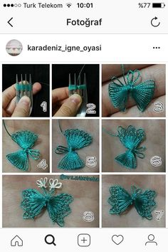"""Fatosun igne oyalari """"This post was discovered by zel"""" Hand Embroidery Stitches, Ribbon Embroidery, Crochet Stitches, Embroidery Designs, Needle Tatting, Tatting Lace, Needle Lace, Crochet Butterfly, Crochet Flowers"""