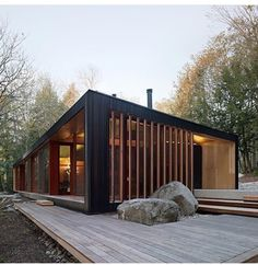 Plans To Design And Build A Container Home - Container House - Clear Lake Cottage by MJMA. - Who Else Wants Simple Step-By-Step Plans To Design And Build A Container Home From Scratch? Residential Architecture, Modern Architecture, Sustainable Architecture, Building A Container Home, Container Homes, Container Cabin, Cargo Container, Container Design, Design Exterior