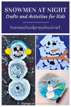 These cute Snowmen at Night activities will be perfect for a winter afternoon activity. You'll find cute art projects for all different ages. Cute Art Projects, Winter Art Projects, Projects For Kids, Cute Snowman, Snowman Crafts, Snowmen At Night, Winter Activities For Kids, Winter Theme, Creative Crafts