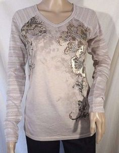 NWT Miss Me Embellished Knit Sleeve Baseball Style Top Size S, L  #MissMe #Blouse