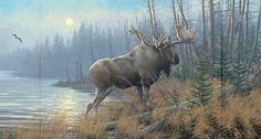 A780580068: Out of the Mist-Moose Painting by Sieve