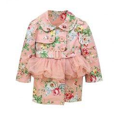 Evaline Pink Floral Trench Coat