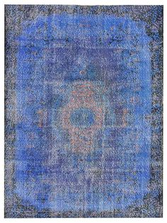 9.9 X 5.9 FT OVERDYED Vintage Turkish Rug Blue Color by RetroRugs