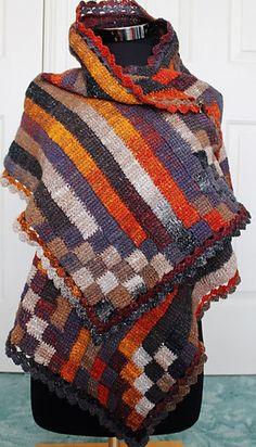 Stripy Entrelac Wrap, Tunisian crochet pattern by Kaye Adolphson for sale on Ravelry