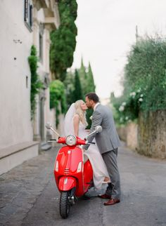Time to take a ride on your vespa: Photography: Vasia Photography - vasia-weddings.com   Read More on SMP: http://www.stylemepretty.com/2017/02/23/tuscan-villa-wedding-featuring-a-dreamy-family-style-reception/