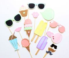 15pc Pastel Ice Cream Shoppe Photo Booth Props|Ice Cream|Sweets Party|Sumner Party|Beach Party|Ice Cream Social
