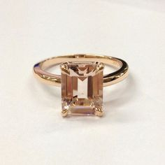 Emerald Cut Morganite Engagement Ring 14K Rose Gold 7x9mm CLAW PRONGS - Lord of Gem Rings - 1