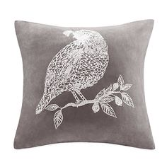 Bird Embroidered Grey Suede Square Throw Pillow; $39.99