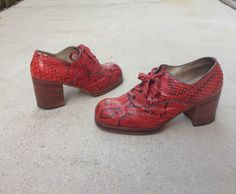 Vintage 1970s Men's Python Snakeskin Platform Shoes sz 11 44 Disco Mod NYC  #DressFormal