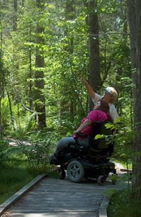 NY Is loaded with accessible recreation and exploration opportunities. Here, a wheelchair and its occupant are on an accessible trail. This pin links to a large list of opportunities provided by the DEC.