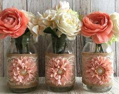 10x rustic burlap and lace covered mason jar vases wedding | Etsy