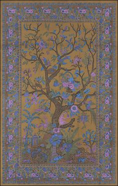 Olive Green Flower Tree Tapestry