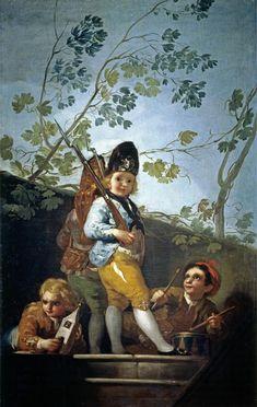 Francisco de Goya - Muchachos jugando a soldados (1779). Rococó. Óleo sobe lienzo de 146 x 94 cm. Museo Nacional del Prado (Madrid), España
