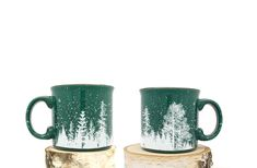 This heavy duty campfire mug features our forest landscape illustration wrapping around the entire mug. Please note this listing is for one mug. Two are shown to show the complete illustration. White Ink on Speckled Color Ceramic Campfire Mug Pottery Designs, Mug Designs, Pottery Ideas, Forest Landscape, Landscape Design, Winter Coffee, Pretty Mugs, Forest Green Color, Black Lantern