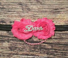 Hot Pink and Black Rhinestone Diva and Pearls Headband / Baby Girl Headbands / Baby Headbands / Rhinestone Headbands / Pearl Headbands / Bow by Chandrasbowtique on Etsy